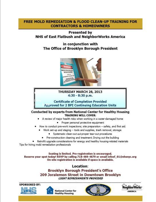 Mold Remediation Workshop 3/28/13