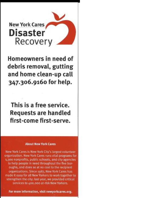 New York Care Disaster Recovery page 1