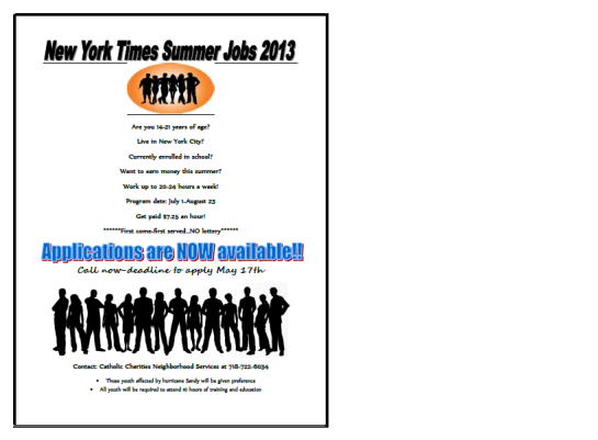 Summer Youth Jobs Deadline May 17,2013