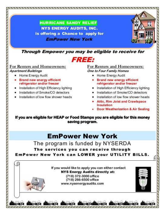 Hurricane Sandy Relief NYS Engery Audits is offering a Chance to Apply Empower New York