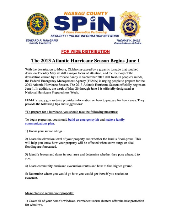 The 2013 Atlantic Hurricane Season Begins June 1 pg. 1