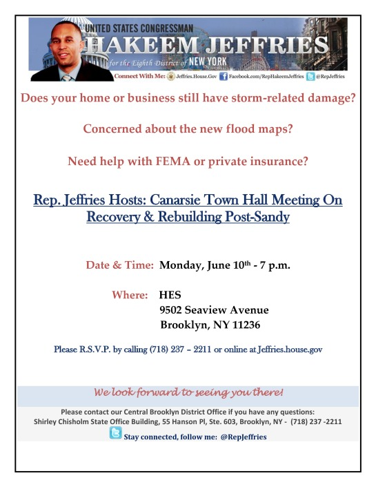 Rep. Jeffries Hosts: Canarsie Town Hall Meeting On Recovery & Rebuilding Post-Sandy