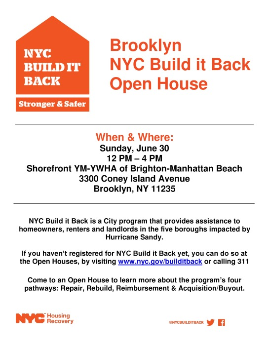NYC Build It Back Open House June 30, 2013