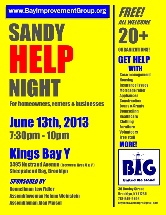 Free Sandy Help Night Welcomes Business, Renters and Homeowners on June 13, 2013