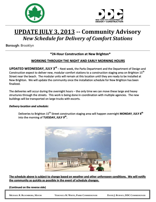 Community Advisory New Schedule for Delivery of Comfort Station Page 1