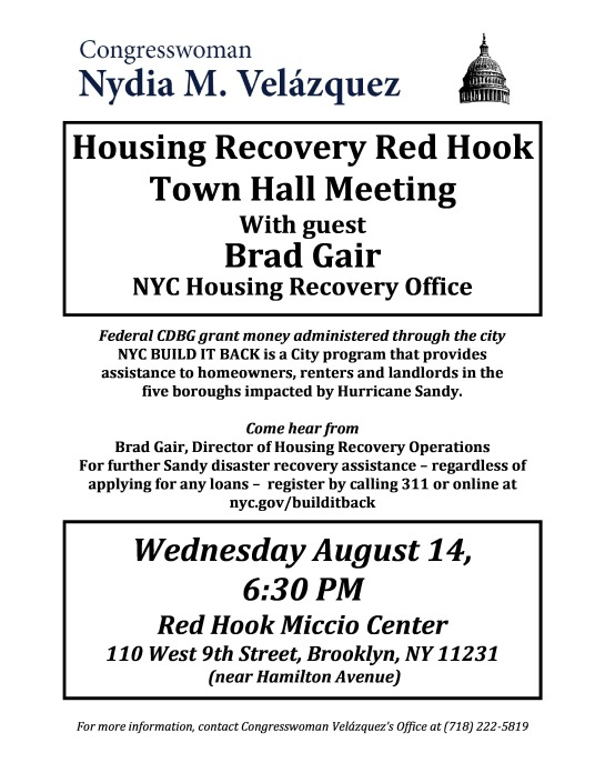 Red Hook Housing Recovery Town Hall Meeting Wednesday August 14 @ 630 pm