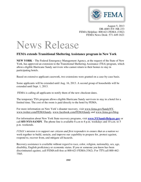 FEMA Extends Transitional Sheltering Assistance Program In New York