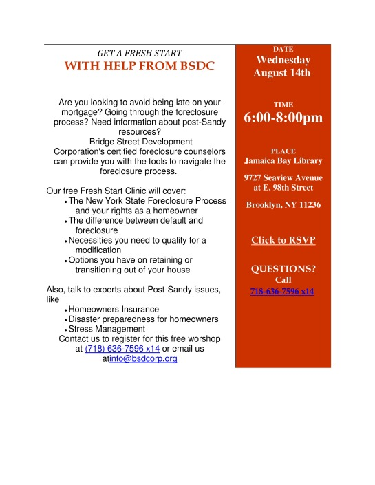Homeowners On Wednesday August 14 GET A FRESH START WITH HELP FROM BSDC