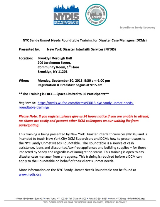 Free Training For DCMs and DCMs Supervisors  Sponsored By: New York Disaster Interfaith Services (NYDIS) ON Monday  9/30/13 Seating is Limited