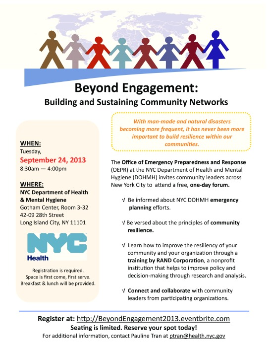 Beyond Engagement Building and Sustaining Community Networks Tuesday September 24, 2013 8:30 am to 4:00 pm  Seat is limited RSVP Today