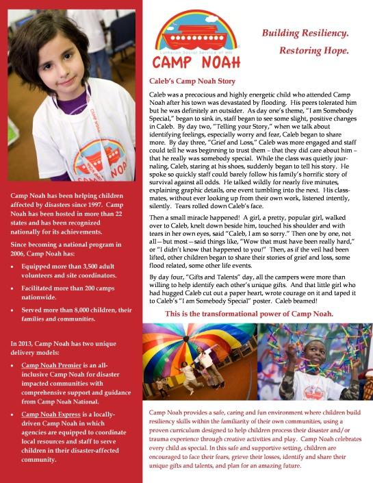 ATTENTION: Camp Noah Info Session 10/21/2013 10 am @ American Red Cross or Greater New York Headquarters Pg.1
