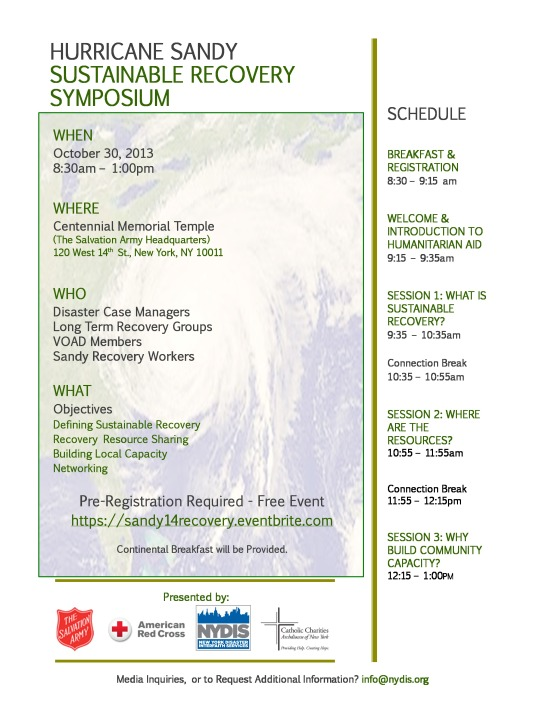 Hurricane Sandy Symposium @ Salvation Army Headquarters.  10/30/13 8:30 am to 1 pm  Pre-Registration Required
