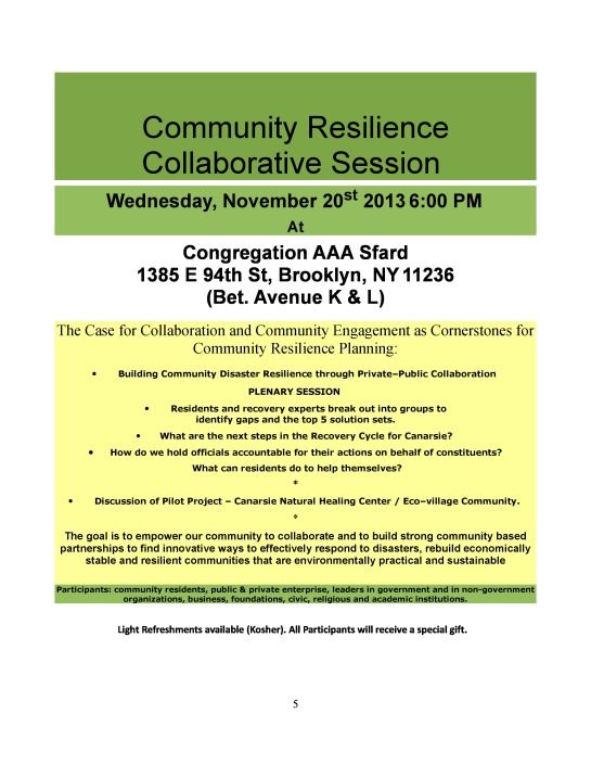 Community Resilience Collaborative Session Wednesday, November 20, 2013 @ 6:00 pm PG.1