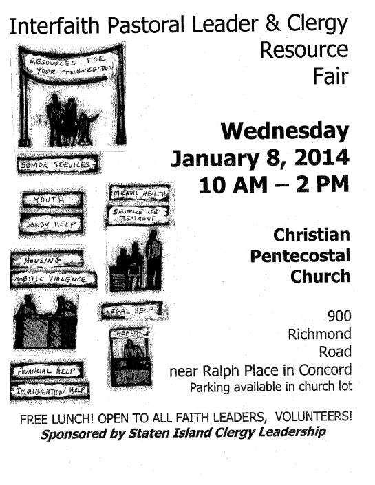 Interfaith Pastoral Leader & Clergy Resource Fair Wednesday January 8, 2014 10 AM -2 PM