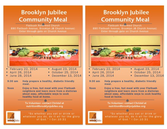 Free Community Meal Dates Sponsored By Brooklyn Jubilee @ The Flatbush Reformed Chruch