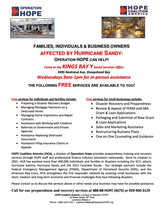 Families, Individuals & Business Owners Affected By Hurricane Sandy Operation Hope Can Help