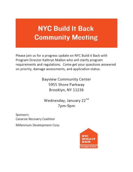 Build It Back Community Meeting Wednesday 1/22/14 7 pm to 9 pm