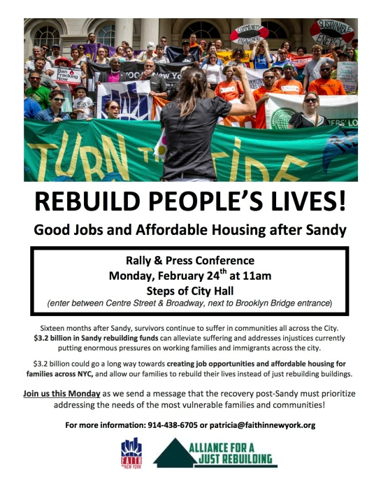 Recovery and Post Sandy Rally and Press Conference 2/24/14 @ 11 AM on the Steps of City Hall