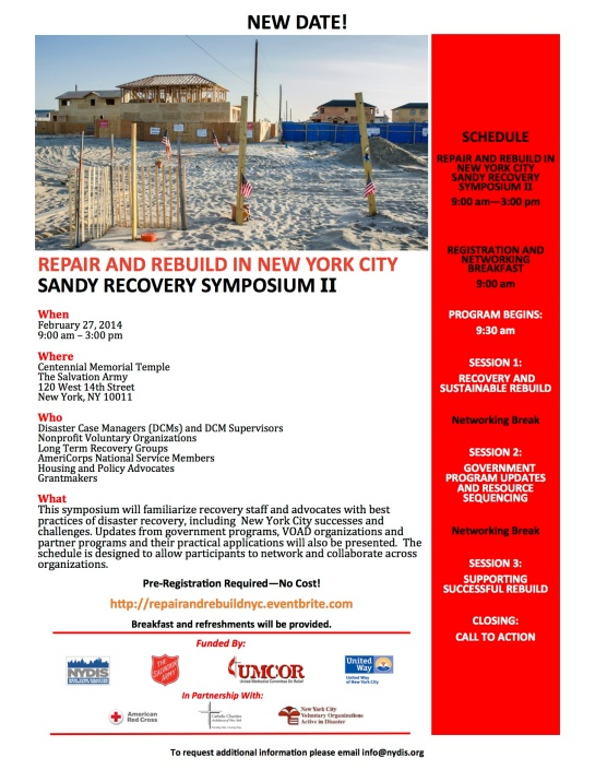 Hurricane Sandy Symposium 2/27/14 9 am to 3pm