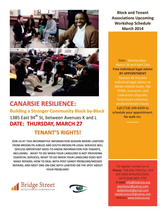 Canarsie Block Tenants Workshop 3/27/14