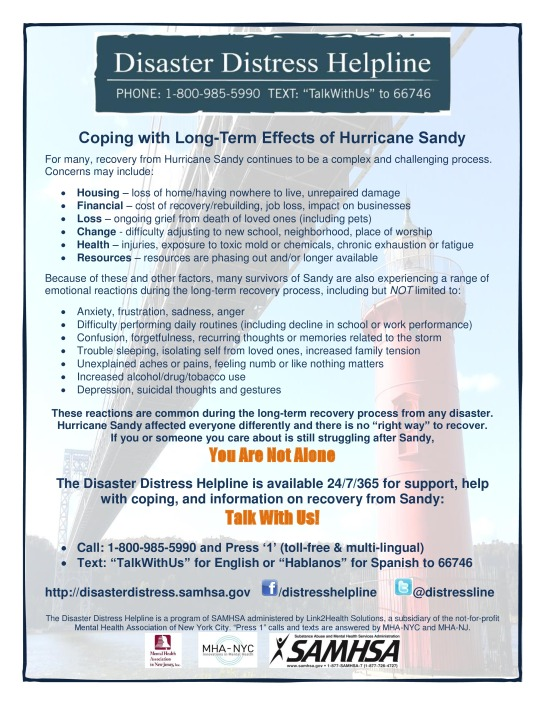 Coping with Long-Term Effects of Hurricane SandyDisaster Distress Helpline