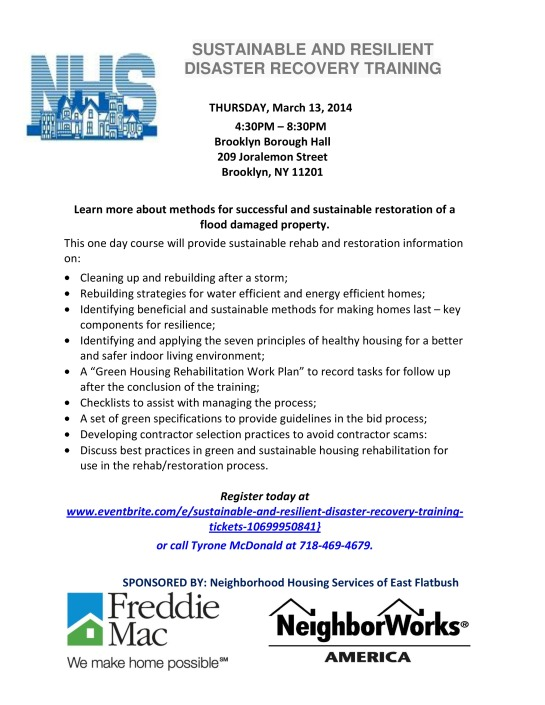 NHS Presents Sustainable And Resilient Disaster Recovery Training, Thursday,3/14/14 Brooklyn Borough Hall