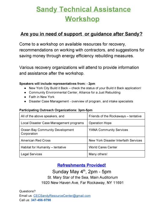 Sandy Technical Assistance Workshop Sunday May 4, 2014 2 pm to 5 pm